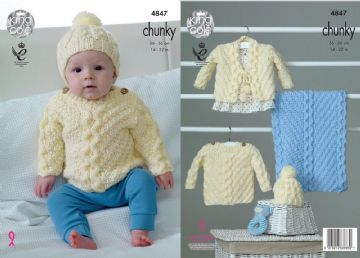 King Cole 4847 Knitting Pattern Sweater Hat Cardigan and Blanket in Baby Soft Chunky